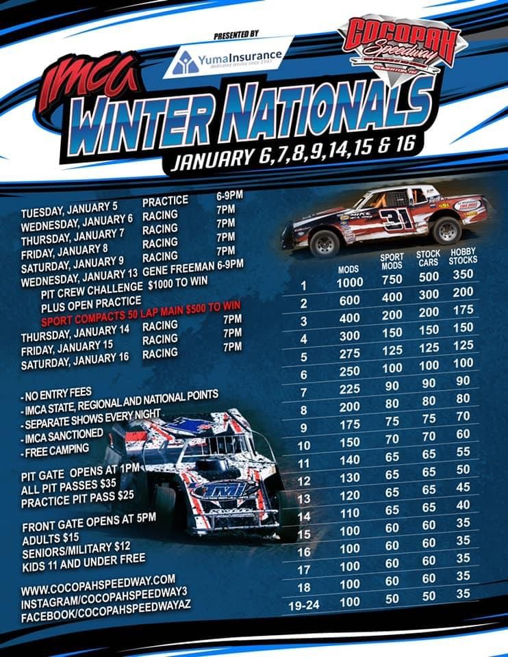Seven January dates for IMCA.TV Winter Nationals presented by Yuma Insurance at Cocopah Speedway