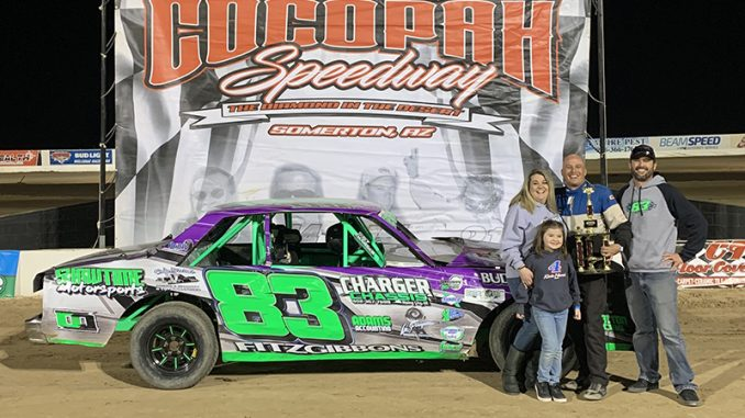 Brown wheels borrowed car to big IMCA Hobby Stock payday