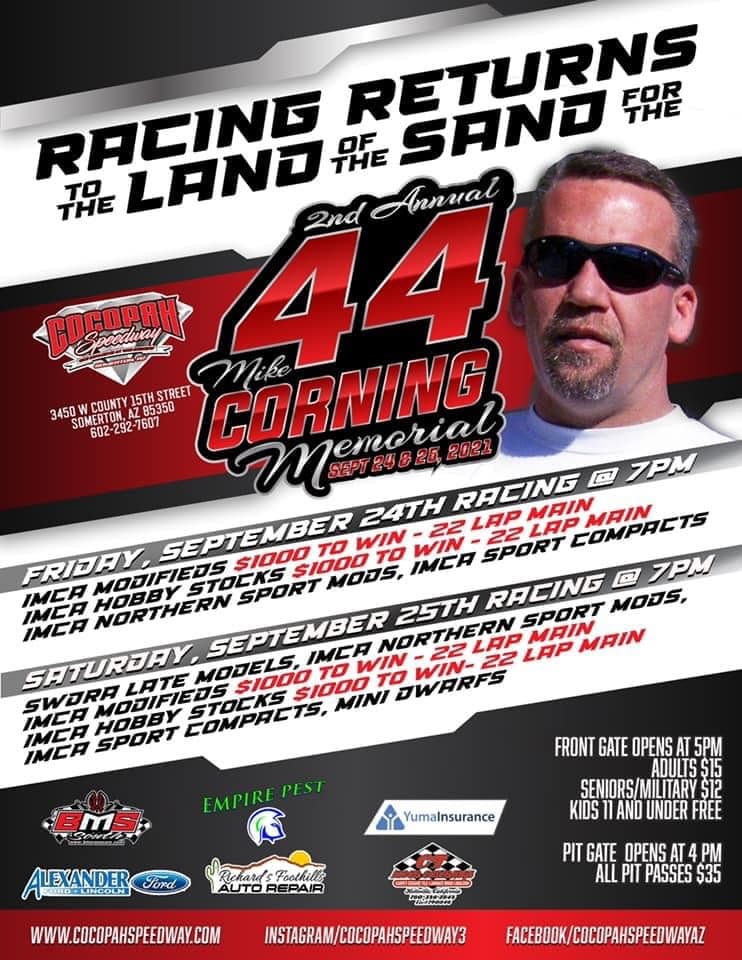 Cocopah hosts Sept. 24, 25 Mike Corning Memorial