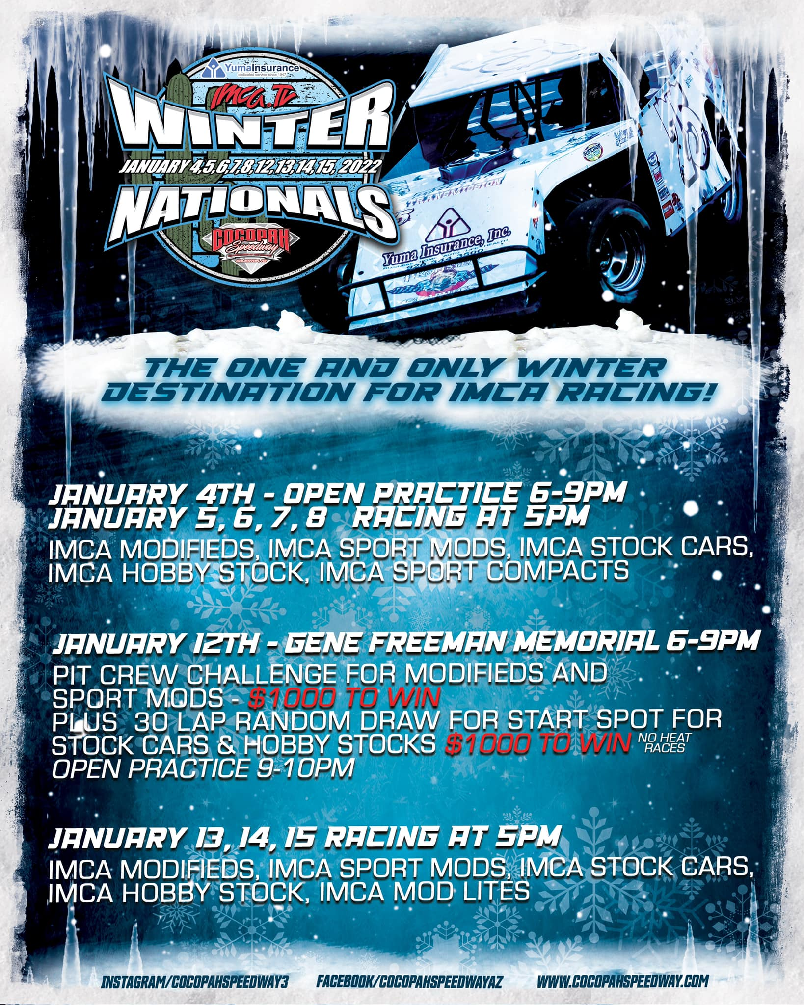 Attention Racers IMCA.TV Winter Nationals presented by Yuma Insurance pre-registration starts October 1st