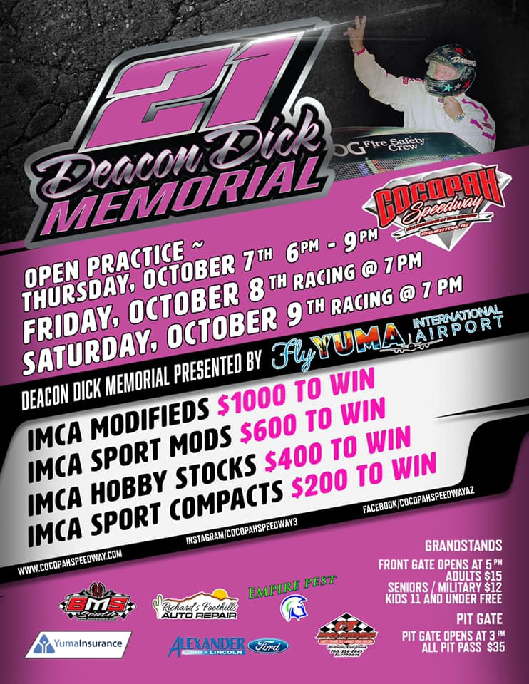 Racing returns to the Diamond with The Yuma International Airport presents The 9th Annual Deacon Dick Rautenberg Memorial